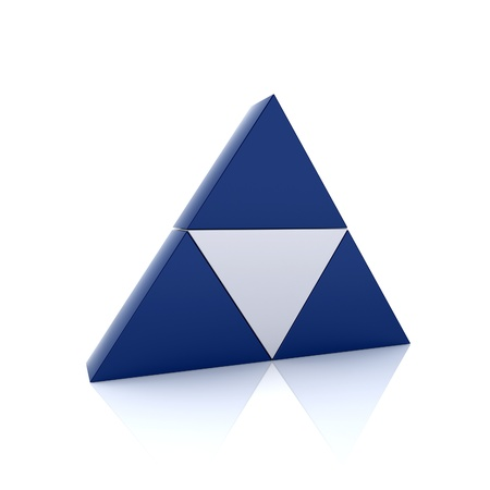 Illustration with metallic blue triangles and triangle in center illustration