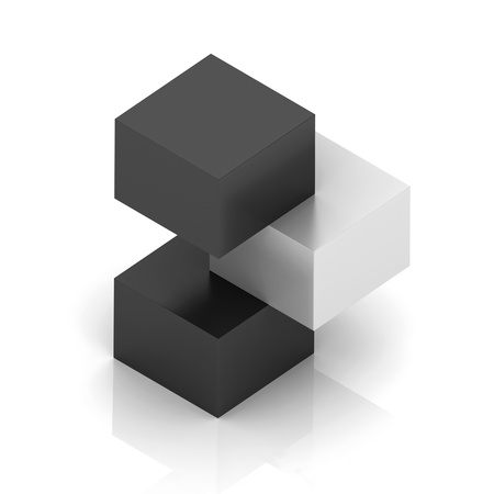 orthogonal: Illustration with orthogonal symbol of three cubes  uniqueness concept