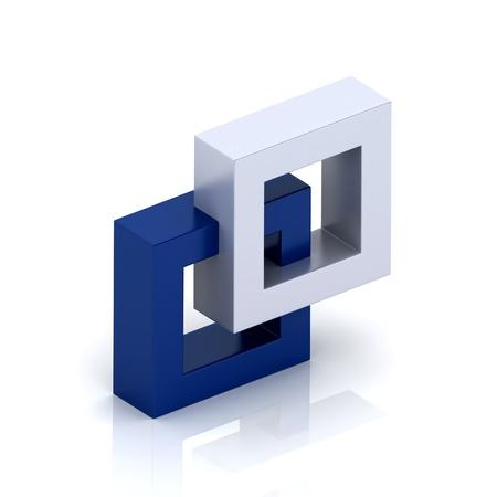 orthogonal: Illustration with orthogonal symbol of two frames  unity concept
