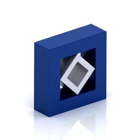 orthogonal: Illustration with orthogonal symbol of frame and rhomb  unity concept