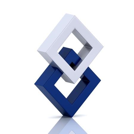 orthogonal: Illustration with orthogonal rhomb symbols  unity concept  Stock Photo