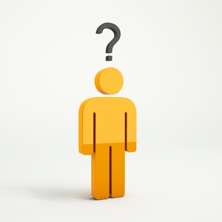 questionmark: Orange 3d guy with question symbol on white background