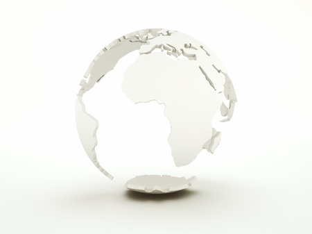 Earth frame on white background and copyspace