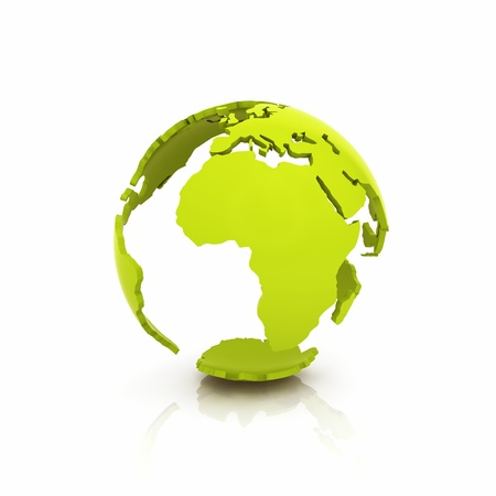 transnational: Illustration of green Earth shell on reflective background Stock Photo