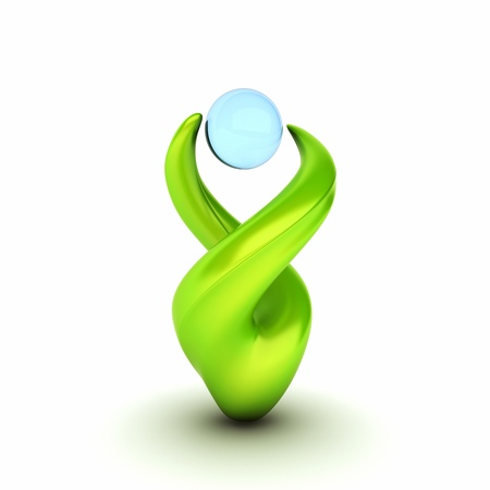 life support: Abstract ecological green symbol  concept of water protection