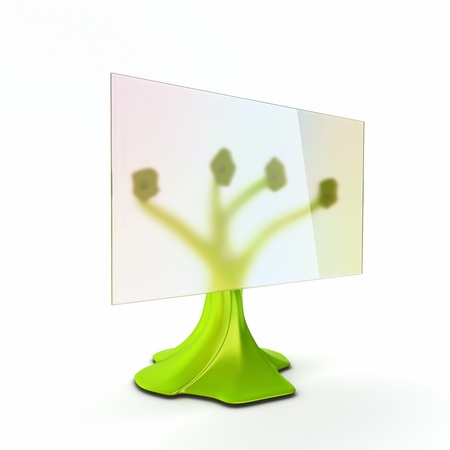 Green ecological futuristic monitor with transparent display Stock Photo - 16979715