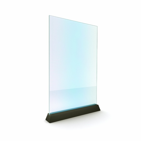 lcd: Concept with futuristic advertising board on white background  Transparent glass with moire  Stock Photo