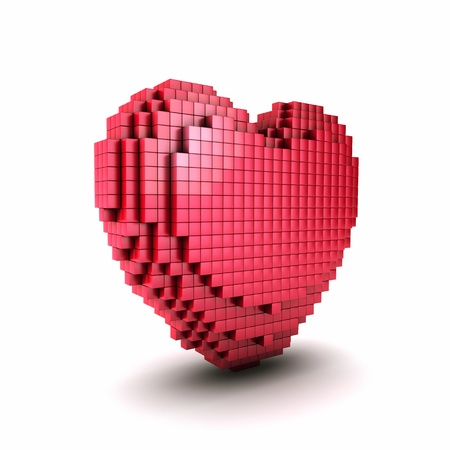 Conceptual symbol of  red voxel heart from cubes  Pixel heart icon