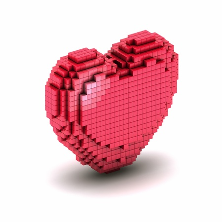 orthogonal: Conceptual symbol of orthogonal heart from boxes  Icon of voxel or pixel heart Stock Photo