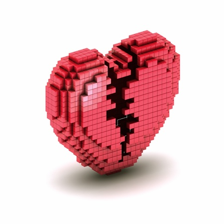 Conceptual symbol of  broken orthogonal heart from boxes  Icon of voxel or pixel heart photo