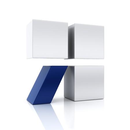 slash: Conceptual symbol with cubes and slash  Stability, uniqueness, support concept  Blue set