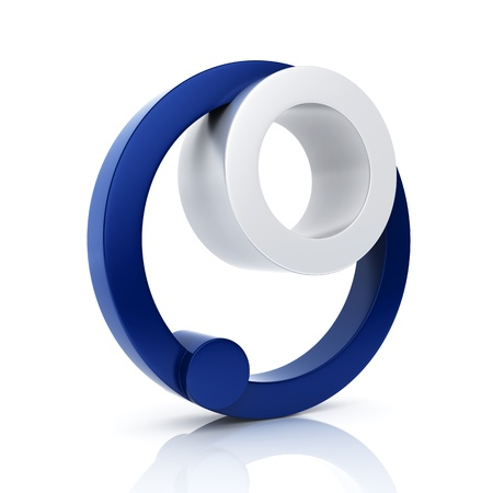 business partnership: Abstract round business symbol. Unity and partnership concept. Blue set
