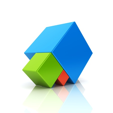 abstract cubes: Abstract business symbol with 3 cubes. Support concept. Color set