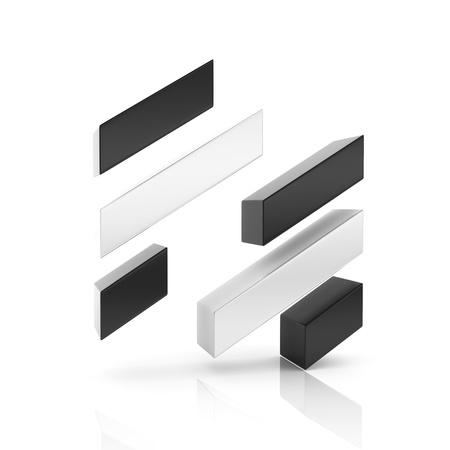 financial symbol: Conceptual financial symbol with bars. Growth concept. Black set Stock Photo