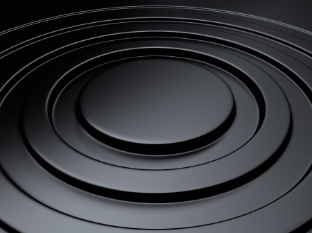 Elegant black metallic background with circle waves Standard-Bild