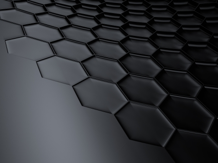 Elegant black metallic background with hexagon pattern and space for text