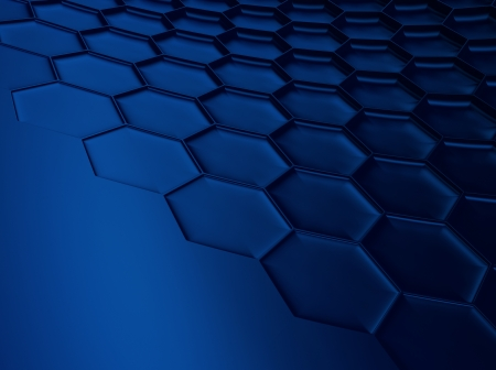 meshed: Elegant blue metallic background with hexagon pattern and space for text