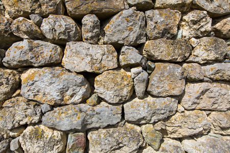 settlements: Russia, the Caucasus, North Ossetia. Detail of the stone walls of ancient settlements and battle towers.