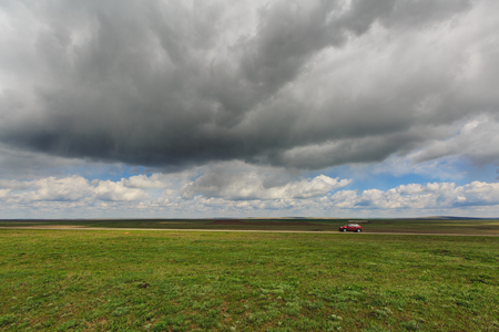 russia steppe: Russia. Rostov region. Clouds over the steppe. Stock Photo