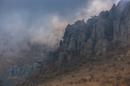 smokies: Russia, Republic of Crimea. Gold Crimea. Mountain Demirdji. Valley of ghosts. Stock Photo