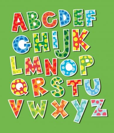 cute childlike alphabet  vector illustration