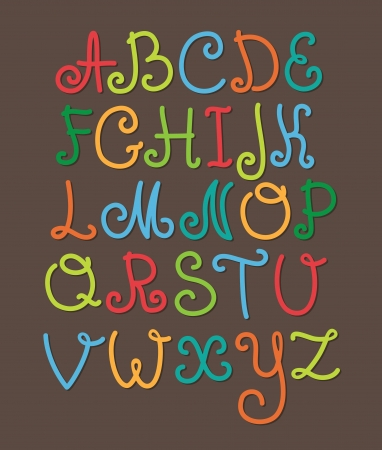 cute childlike alphabet  vector illustration Vector