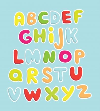 school baby: cute childlike alphabet  vector illustration