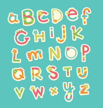 childlike: cute childlike alphabet  vector illustration