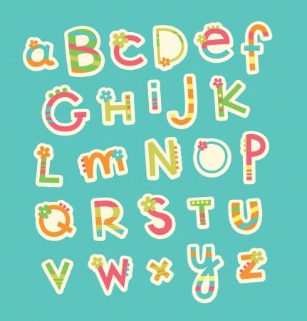 letter writing: cute childlike alphabet  vector illustration