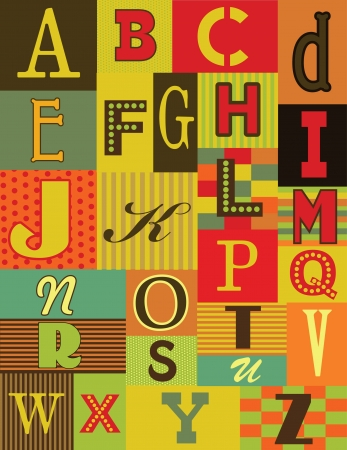 retro alphabet design. vector illustration Vector