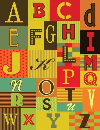 alphabet: retro alphabet design. vector illustration