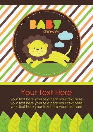leon bebe: dise?o de la ducha del beb?. ilustraci?n vectorial