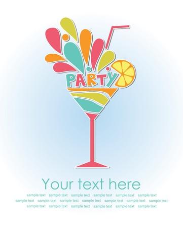 invitación a fiesta: tarjeta de felices fiestas con cócteles ilustración vectorial