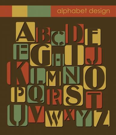 paper spell: retro alphabet design. vector illustration