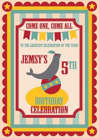 kid birthday invitation card design. vector illustration Stock Vector - 20560488