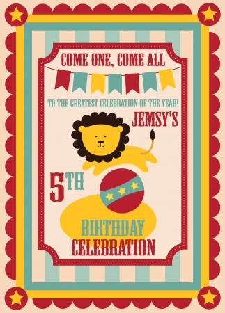 kid birthday invitation card design. vector illustration Illustration