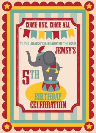 cirkusz: gyerek születésnapi meghívó design. vektoros illusztráció