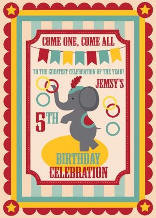 party invitation: kid birthday invitation card design. vector illustration Illustration