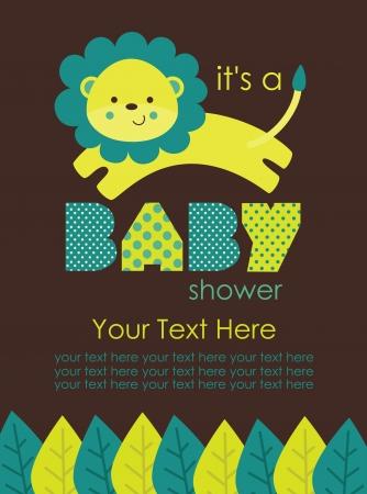 leon bebe: beb? lindo dise?o de la ducha. ilustraci?n vectorial