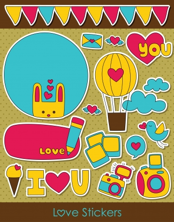 love stickers collection. vector illustration