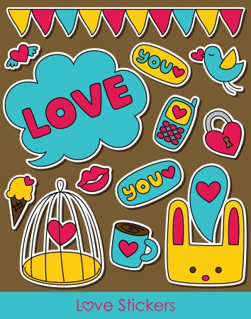 love stickers collection. vector illustration Stock Vector - 20561326