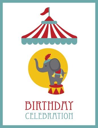big top: kid happy birthday card design. circus animal. vector illustration