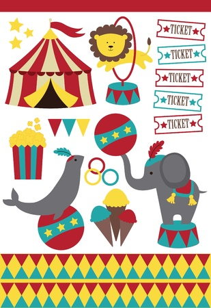 circus ticket: cute circus elements collection. vector illustration Illustration