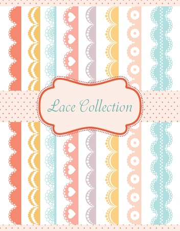 embroidery on fabric: straight lace collection. vector illustration