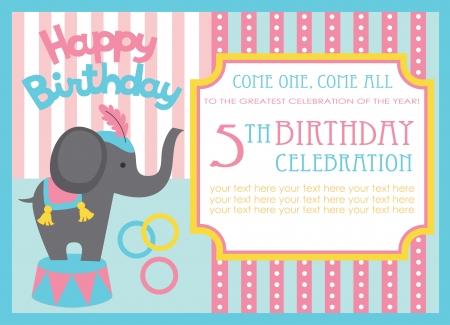 circus elephant: kid birthday invitation card design. vector illustration Illustration