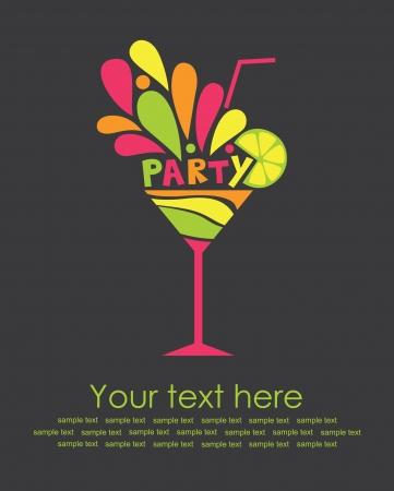 tarjeta de día de fiesta feliz con la ilustración vectorial de cóctel