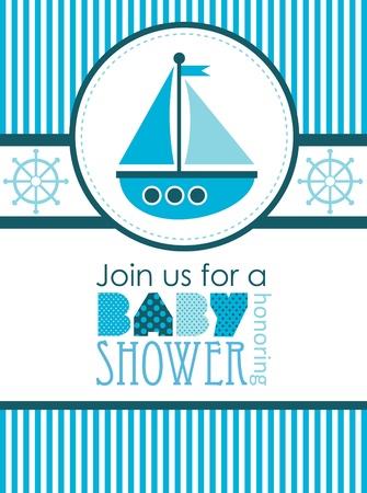 baby boy shower: baby shower. sea design. vector illustration