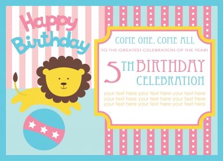 kid birthday invitation card design. vector illustration Stock Vector - 20561320