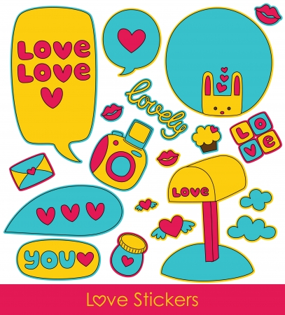 scrapbook cover: love stickers collection. vector illustration