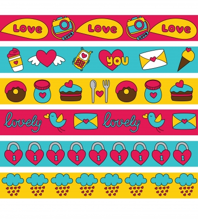 cute love border collection. vector illustration Vector